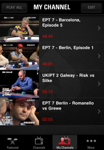 Pokerstars TV on iPhone - My Channel Videos