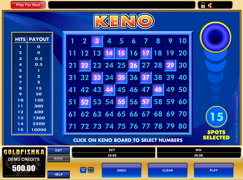 Keno pay table